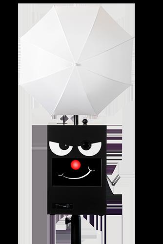 Face-box mit roter Nase und Schirm