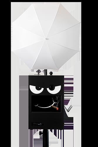 Die verwegene face-box mit Schirm